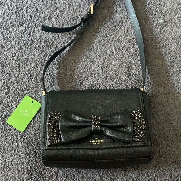 61a1589c2b6 Kate Spade black bedazzled bow tie purse NWT